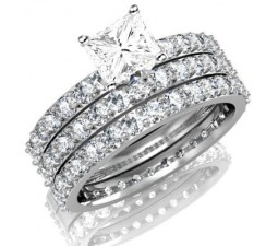 Huge 3 Carat Trio WeddinG Bridal Set on Closeout Sale Limited Time