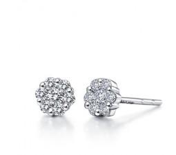 Earrings Diamond Gold Gallery Lyst Kwiat Cer 18k White Flower Stud