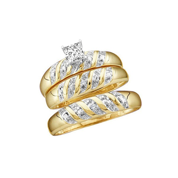 Wedding Trio Rings Set With 1 Carat Diamond Total Weight For Him And Her