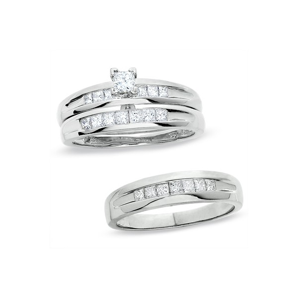 1 Carat Princess Cut Trio Wedding Ring Set For Him And Her