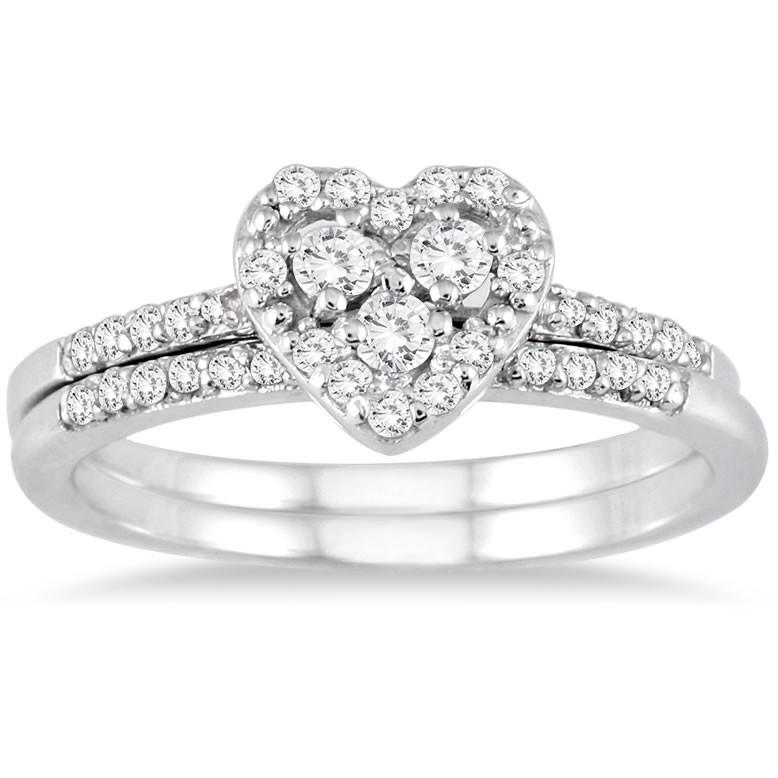 Sparkling Heart Ring Halo Wedding Set Ring 1 Carat Round Cut