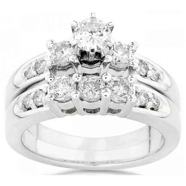 1 Carat Round Diamond Wedding Rings Bridal Set