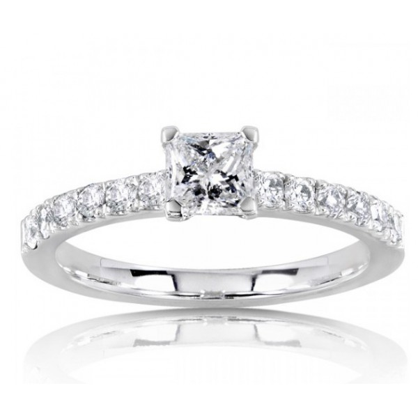Beautiful Princess Diamond Engagement Ring On