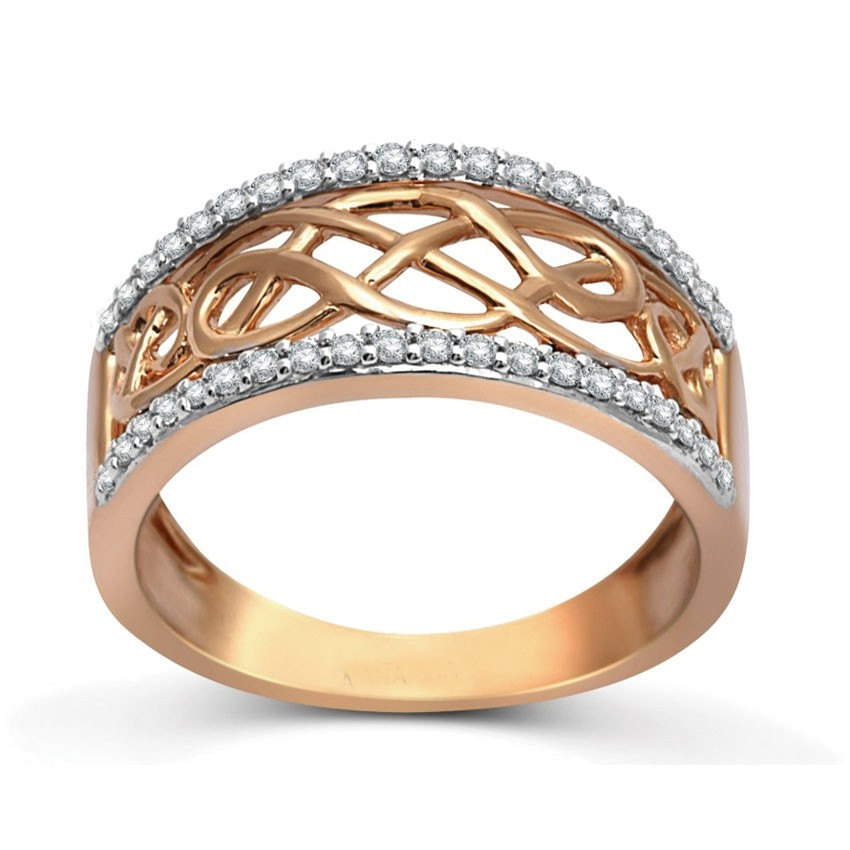 Designer Rose Gold Diamond Wedding Band Ring for Women JeenJewels