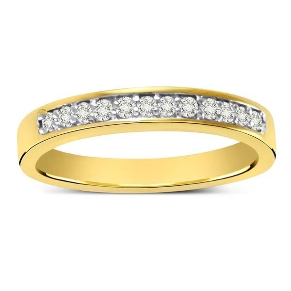 Pave set Round Diamond Wedding Band in Yellow Gold JeenJewels
