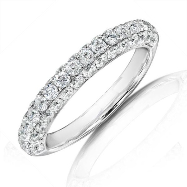 Luxurious Three Row Diamond Wedding Band In 14k White Gold