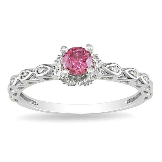 Classic Pink Sapphire And Diamond Sapphire And Diamond Engagement Ring 0 50 Carat Diamond On White Gold Jeenjewels