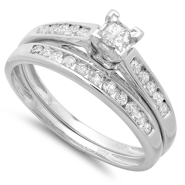 perfect cheap diamond bridal ring set 1 carat on 10k gold - Cheap White Gold Wedding Rings