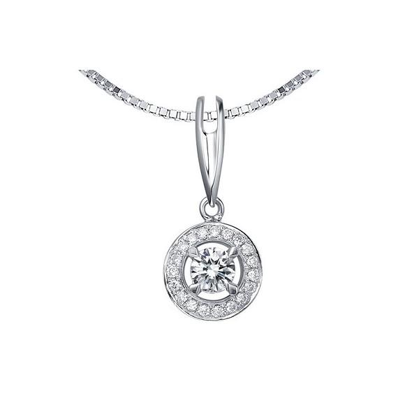 f536dfab610ac Circle Shape Diamond Pendant on 18k White Gold - JeenJewels