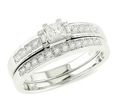 3/4 Carat Diamond Bridal Set on 10k White Gold