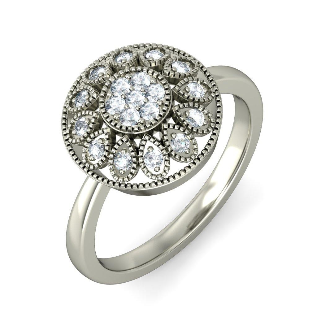 Beautiful Flower Diamond Ring For Her In White Gold