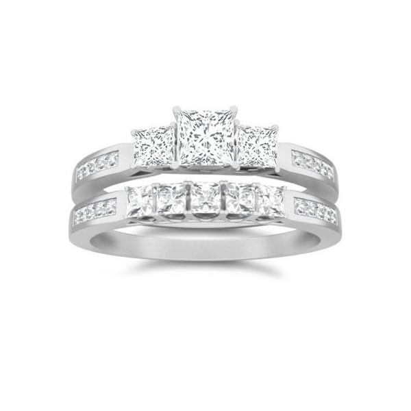 1 Carat Princess Cut Diamond Three Stone Bridal Set 10k White Gold