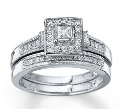 Closeout Sale:1 Carat Halo Princess Diamond Wedding Set
