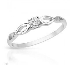 1/5 Carat diamond infinity solitaire ring on 10k white gold