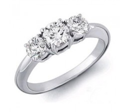 Perfect Three Stone Round Trilogy Diamond Engagement Ring for Her