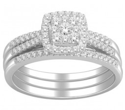 1 Carat Trio Wedding Ring Set for Her in White Gold