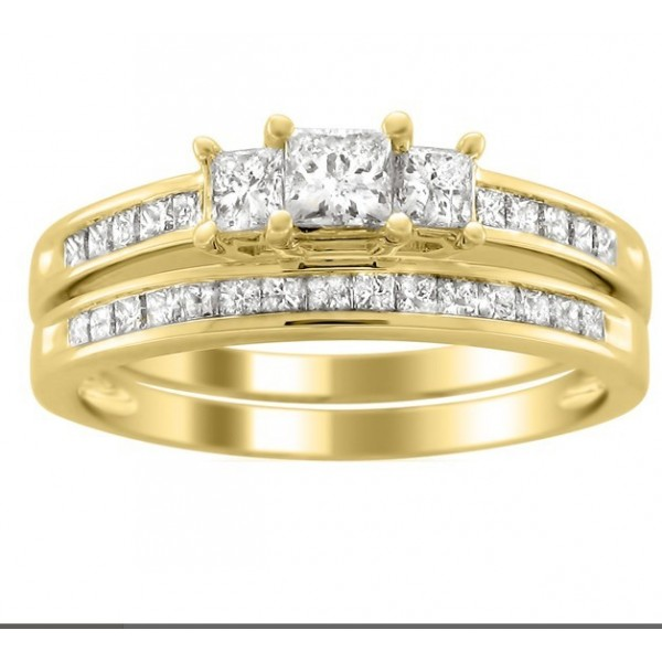 Perfect Inexpensive Diamond Wedding Set 2 Carat Princess Cut
