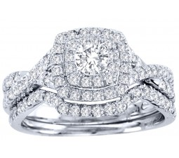 Huge 2 Carat Round Diamond Halo Bridal Ring Set in White Gold