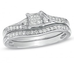 Inexpensive Half Carat Princess Bridal Set for Her in White Gold