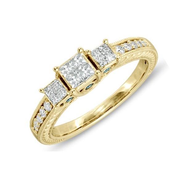 Classic Antique Three Stone Wedding Ring 1 Carat Princess Cut