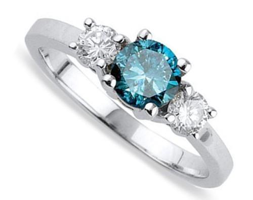 Half Carat Blue Shire And White Diamond Three Stone Engagement Ring