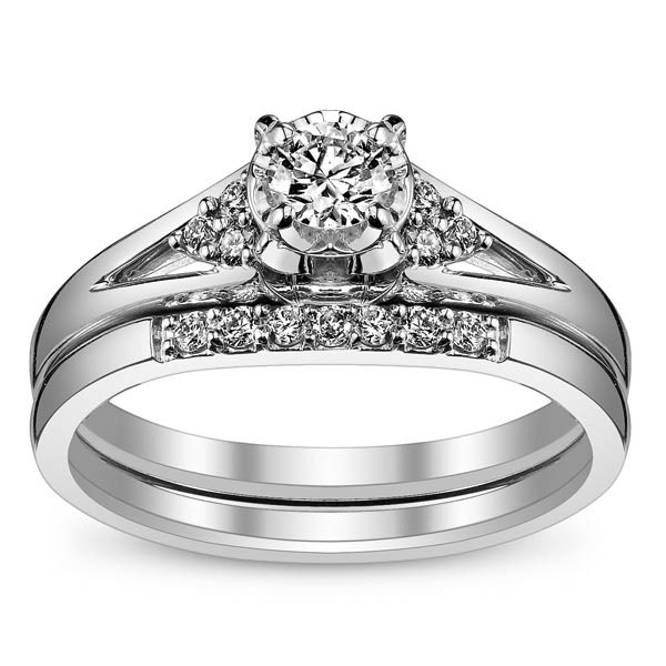 Affordable Diamond Bridal Ring Set For Women In White Gold