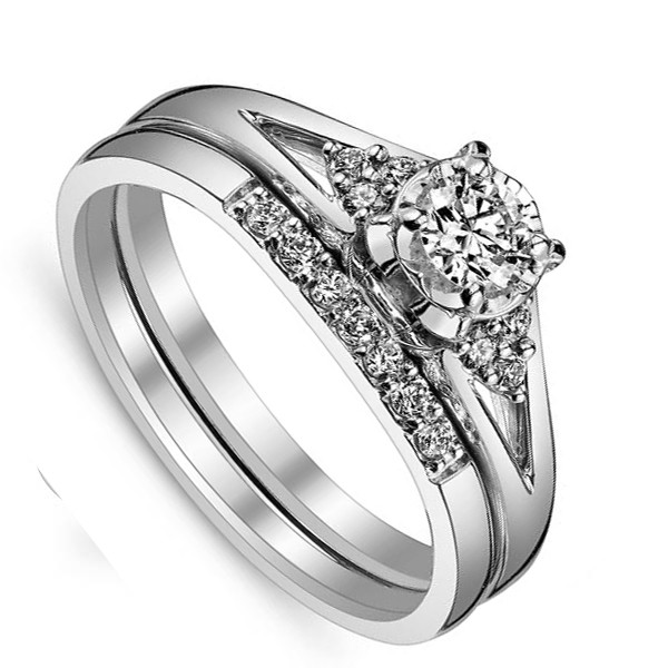 affordable wedding ring sets affordable bridal ring set for women in white gold 1235