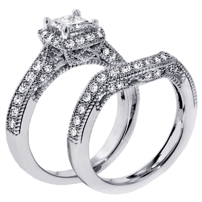 1 carat vintage princess cut diamond wedding ring set for women - Wedding Rings Sets For Women