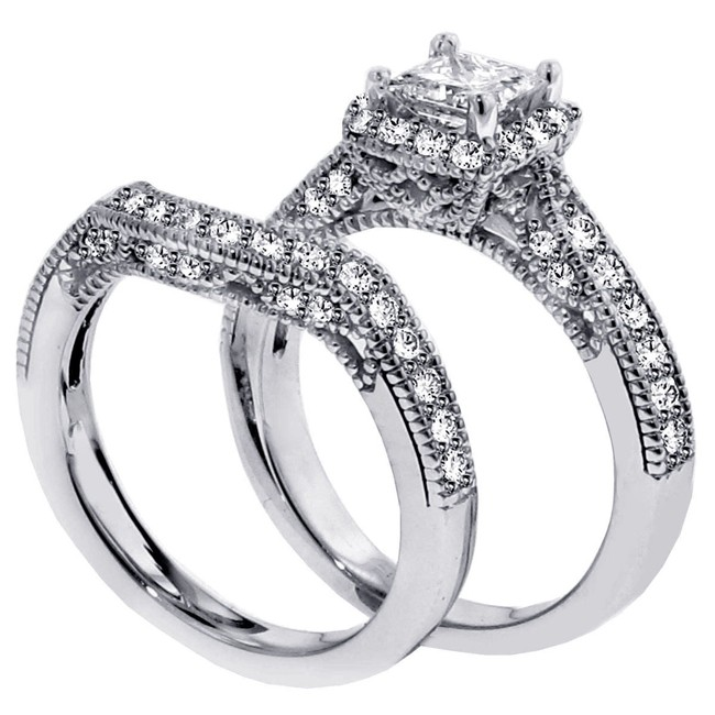 1 carat vintage princess cut diamond wedding ring set for women - Vintage Wedding Ring Set