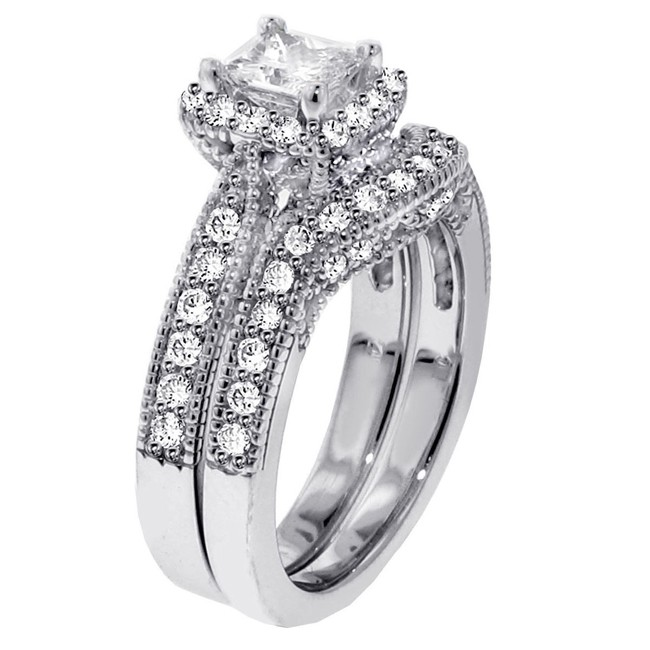 1 carat vintage princess cut diamond wedding ring set for women - Princess Cut Wedding Ring Set