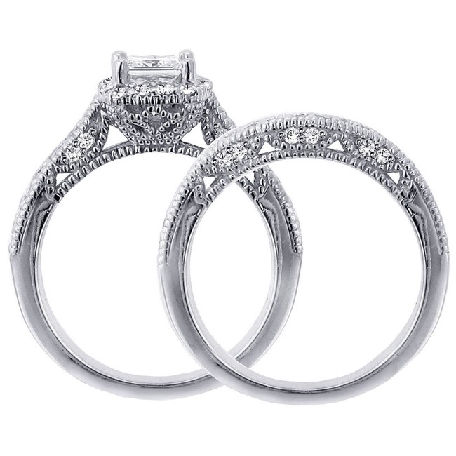 1 carat vintage princess cut diamond wedding ring set for women - Princess Cut Wedding Ring Sets