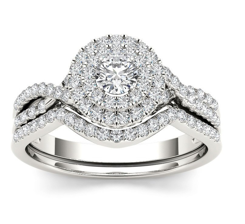 1 10 Carat Round Diamond Double Halo Wedding Ring Set For Her