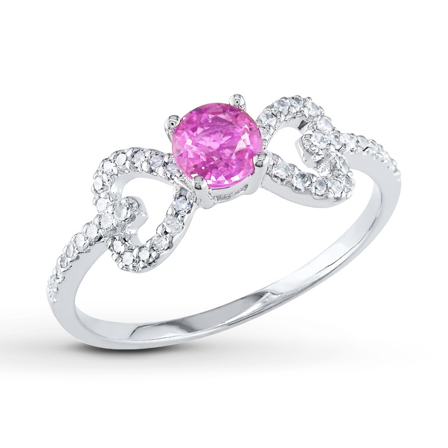Unique Half Carat Pink Shire And Diamond Engagement Ring In White Gold