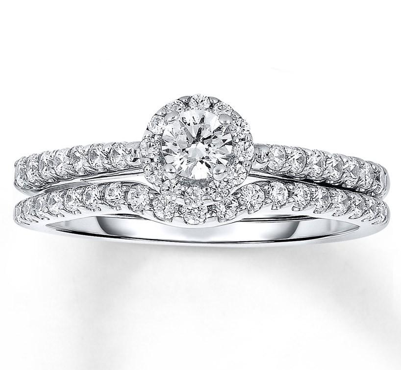 Halo 1 Carat Round Diamond Wedding Ring Set In White Gold