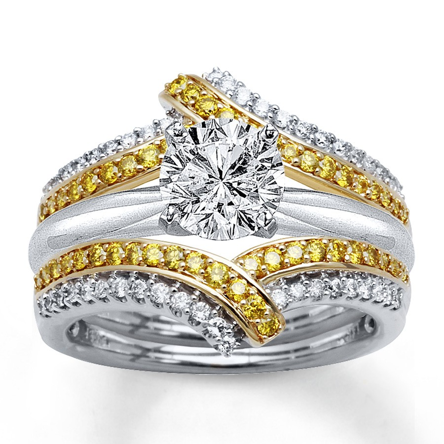 1 50 Carat Round White And Yellow Diamond Bridal Set In Gold