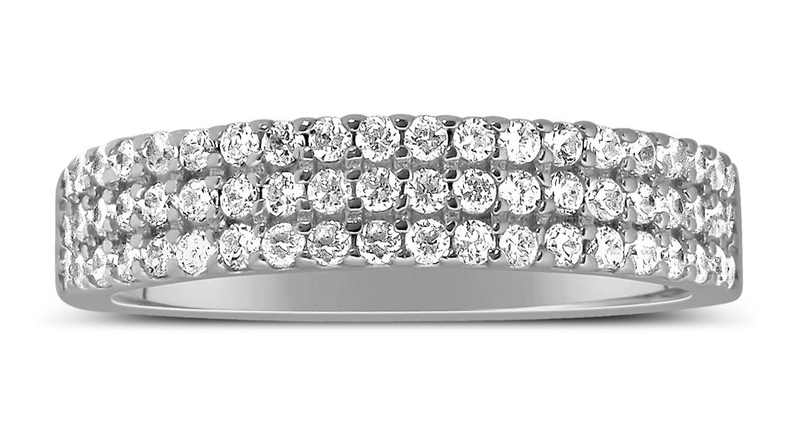 Unique 3 Row 1 Carat Round Diamond Wedding Ring Band in White Gold