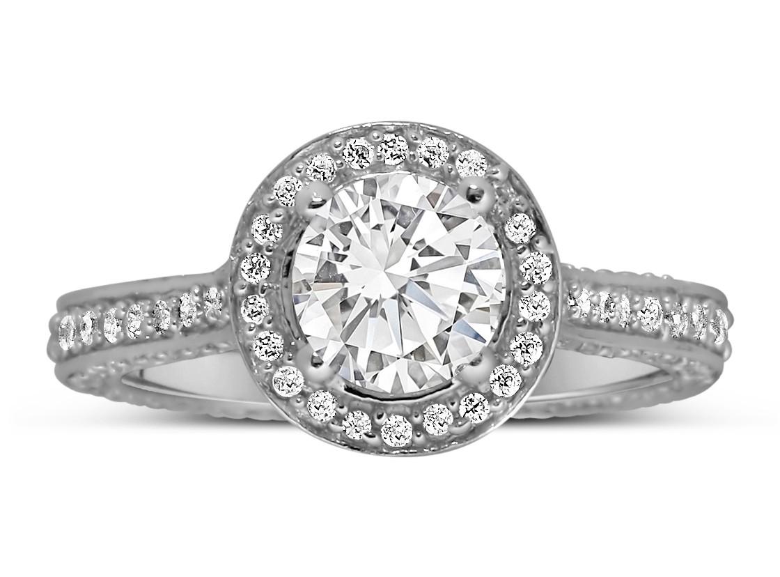 Designer 1 Carat Round Halo Diamond Engagement Ring For Women In White Gold