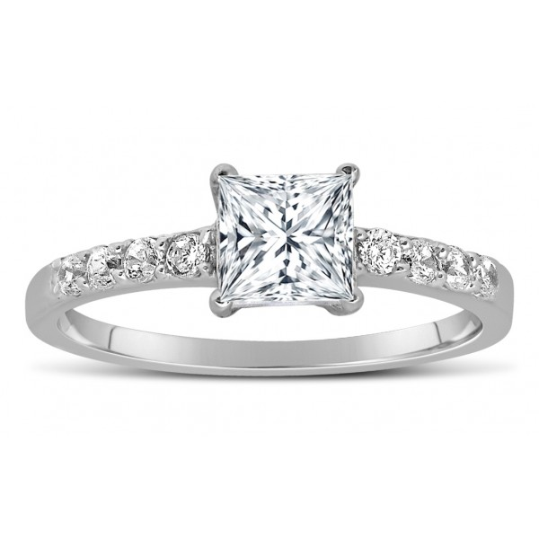 1 Carat Princess cut Diamond Engagement Ring in 14k White Gold