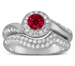 Antique Designer 2 Carat Red Ruby and Diamond Bridal Ring Set for Her in White Gold