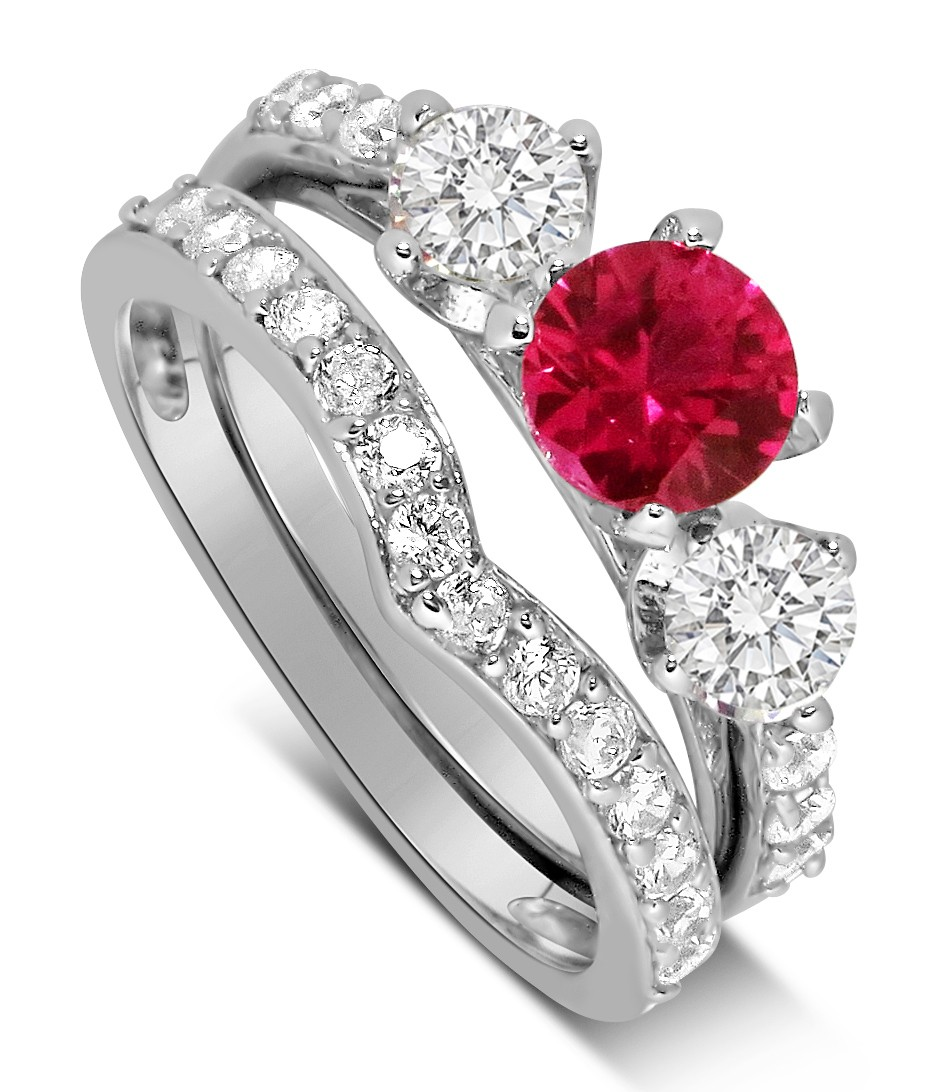 Luxurious 2 Carat Ruby And Diamond Wedding Ring Set In 10k White Gold