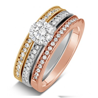 2 Carat Round cut Tri Color White Rose and Yellow Gold Trio