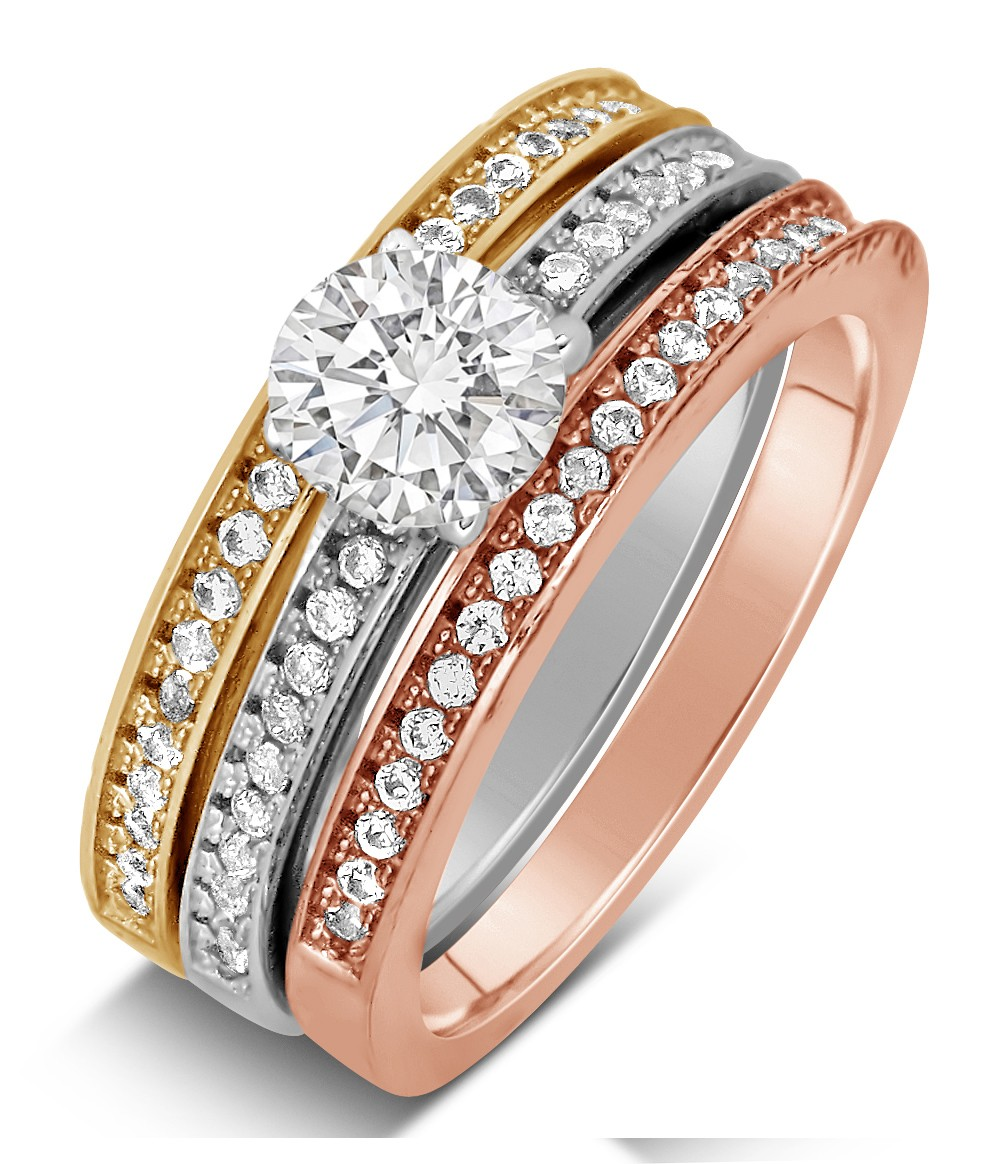 2 Carat Round Cut Tri Color White Rose And Yellow Gold Trio Wedding Ring Set