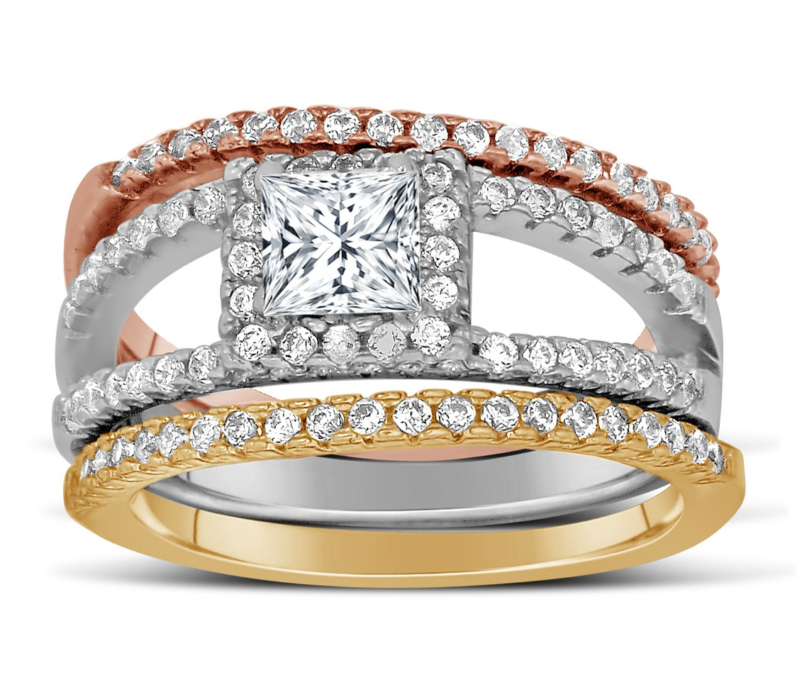 2 Carat Princess Cut Tri Color White Rose And Yellow Gold Trio Wedding Ring Set
