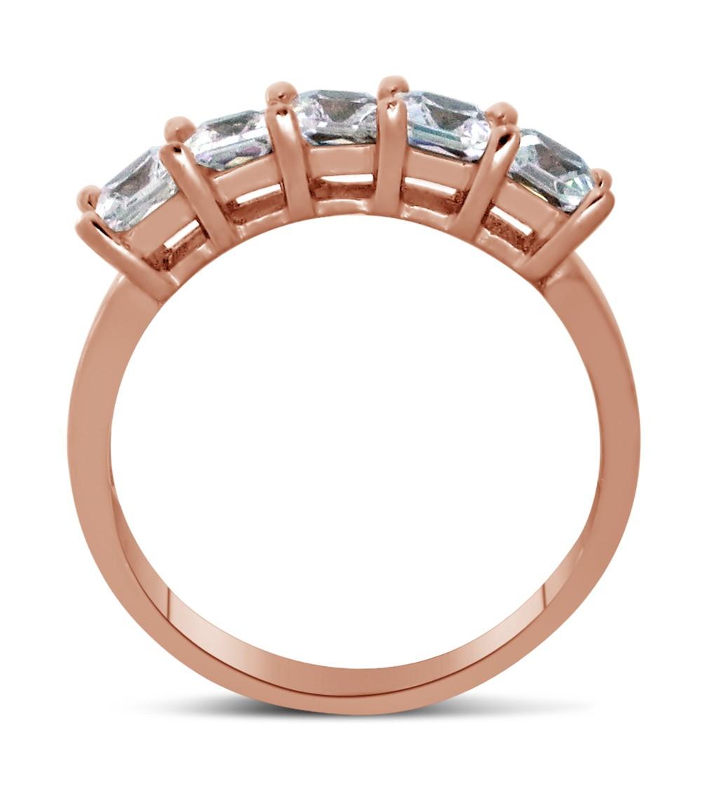 1 Carat 6 Stone Princess Cut Diamond Wedding Ring Band In Rose Gold
