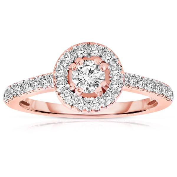 Half Carat Round Cut Halo Diamond Engagement Ring In Rose Gold