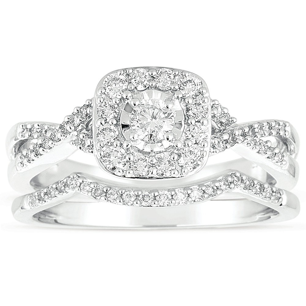 Infinity 1 Carat Round Diamond Wedding Ring Set In White Gold