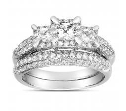 2 Carat Three Stone Trilogy Princess Diamond Wedding Ring Set in White Gold for Women