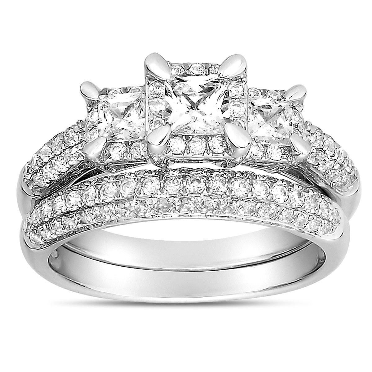 2 Carat Three Stone Trilogy Princess Diamond Wedding Ring Set In White Gold For Women