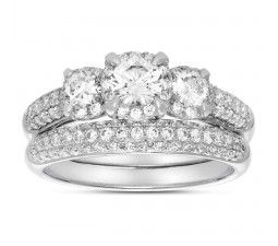2 Carat Three Stone Trilogy Round Diamond Wedding Ring Set in White Gold for Women