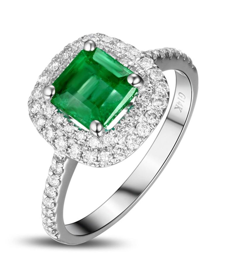 2 Carat Princess Cut Emerald And Diamond Double Halo